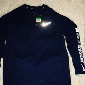 Nike Dri Fit Navy Long Sleeve Men's Shirt sz XL